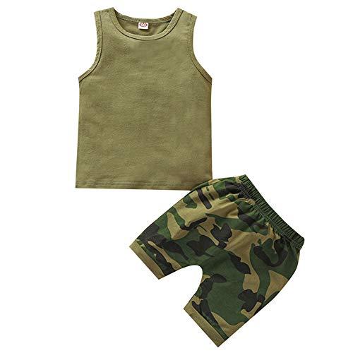 Qtinghua Baby Boys Summer 2 Piezas Conjunto Carta Impreso Cuello Redondo Sin Mangas Chaleco + Shorts Impresos (#2-Army Green, 18-24 Months)