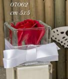Kira - Jarrón de cristal con flor rosa roja para bombonera, 10 unidades
