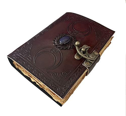 Book of Shadows Tagebuch blanko Vintage Büttenrand Papier Triple Moon Third Eye Stein keltischer Grimoire Hexenzauber braun handgefertigt Notizbuch Wiccan Unni Merchandise Daily Lock für Frauen 7 x 5