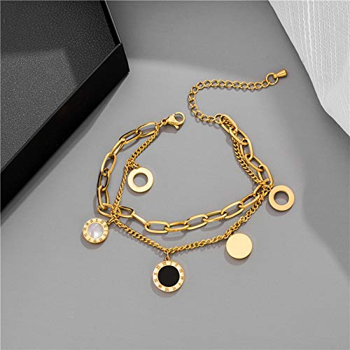 yitao Pulsera de lujo de la joyería de oro rosa de acero inoxidable números romanos pulseras y brazaletes pulsera de encanto femenino para las mujeres de color dorado