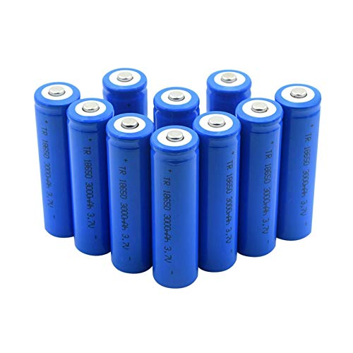 MNJKH 18650 Batería De Litio De 3.7 v 3000 Mah, Carga De BateríAs Recargables De Punta Azul CéLula De Iones De Litio para Linterna 10pcs