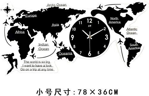 NSYNSY Large Diy Acrylic Wall Clock, Black World Map 3d Self Adhesive Wall Sticker Living Room Decorative Mute Quartz Clock-small 78x69cm(31x27inch)