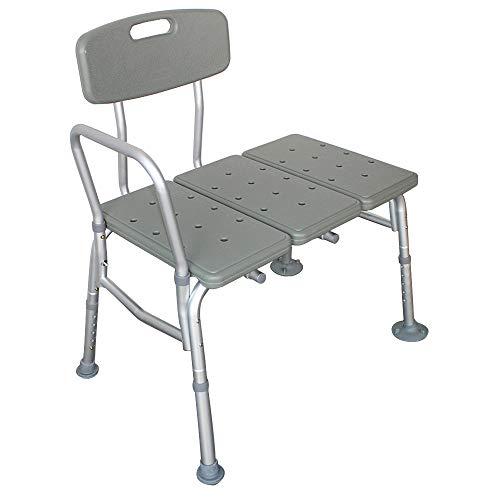 Binrrio Tub Transfer Bench Bath & Shower Chair, Lightweight Extra Wide Bath Seats with Backrest, Armrest, Non-Slip Foot Mat and Adjustable Height of Seat for Elderly, Senior Grey