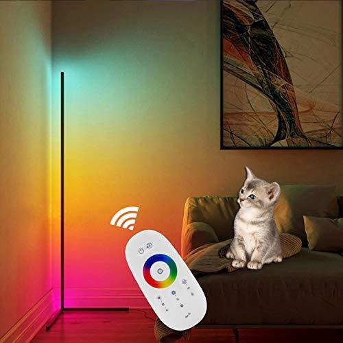 QJUZO RGB Stehlampe Dimmbar Mit Fernbedienung Modern LED Stehleuchte für Wohnzimmer Schlafzimmer Ecke, Farbtemperaturen Und Helligkeit Einstellbar Schwarz Standleuchte, Bunt Atmosphäre Licht,110cm