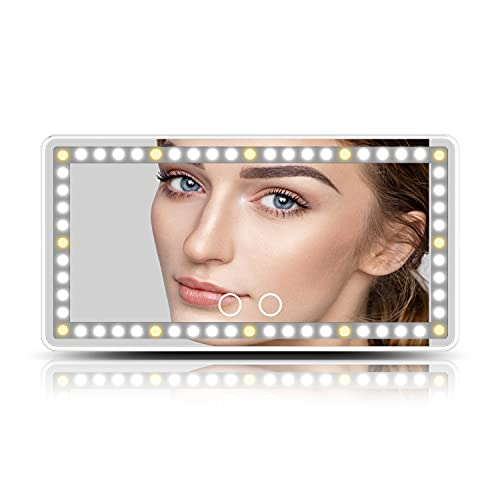 Car Visor Vanity Mirror,Car Makeup Mirror with Lights Built-in Battery and Type-C Powered, 60 pcs LED Three Lighting Mode ,Dimmable Sun Visor Mirror with Touch on Screen,LED Travel Makeup Mirror