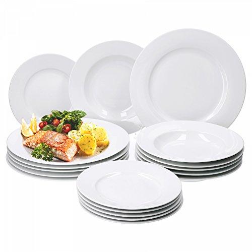 Van Well Trend 18-TLG. Tellerset weiß für 6 Personen, Kuchenteller + Speiseteller + Suppenteller