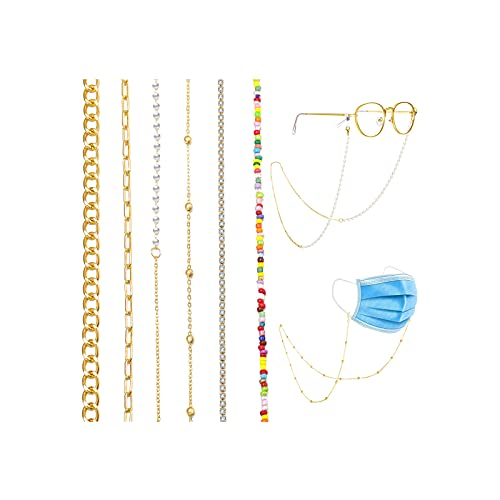 17 MILE 6 PCS Face Mask Chain Holder, Glasses/Eyeglass Chain Lanyard for Women, Gold/Silver Plated Hanging Chain Link Necklace Set Anti-Lost Around Neck Sunglasses Chain