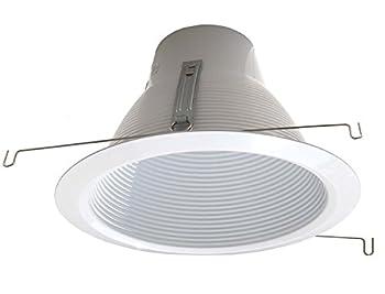 6  Deep Self Flange Air-Shut Baffle Trim For Line Voltage Recessed Light-White