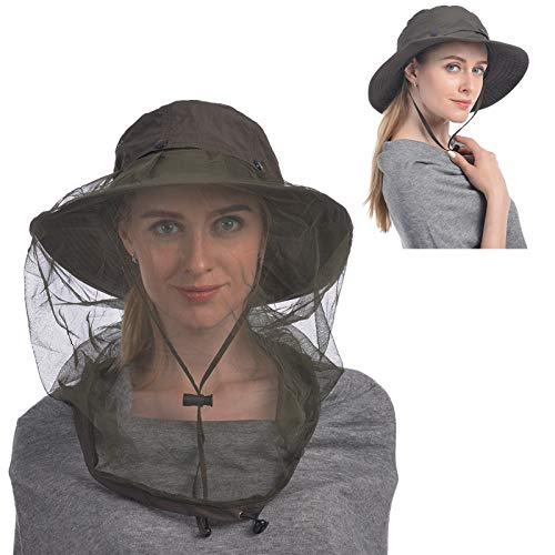 USHAKE Mosquito Head Net Hat, Safari Hat Sun Hat Bucket Hat with Hidden Net Mesh Protection from Insect Bug Bee Mosquito Gnats for Outdoor Lover Men or Women-Green