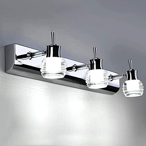 Lightsjoy Lámpara de Espejo Baño 14W 45 LED 2835SMD 1400LM 180 Grados Ajustable Luz de Maquillaje contra Niebla Impermeable IP44 Lámpara Ligero para Cuarto de Baño, Tocador, 6500K Blanco Frío