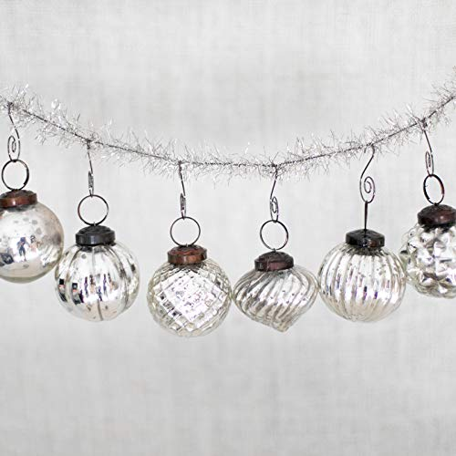 6 Silver Glass Mercury Christmas Tree Ornaments - 2' - 2.5'...
