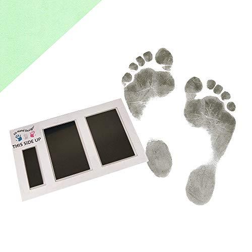 3D Hand Design Set voor Voetafdruk| zwart | voor pasgeborenen & baby's tot 3 maanden op elk papier | Magic Footprint Standard (Papierkleur: pastelgroen, voor maximaal 8 afdrukken)