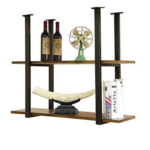Estante para vinos, bar, restaurante, colgante, estante para copas de vino, almacenamiento de hojas para cocina, unidad de madera maciza de 2 niveles, vitrinas para utensilios de cocina, 60 y veces;