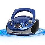 jiande Boombox de Reproductor de CD portátil con Radio Am/FM, Control Remoto, Entrada Auxiliar de 3.5 mm, Conector de Auriculares estéreo, Pantalla LCD (Color : Blue)