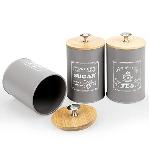 DAILYLIFE Vorratsdosen aus Metall, luftdicht, mit Bambusdeckel, für Zucker, Tee, Kaffee, Grau, 3 Stück