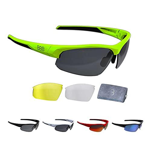 BBB Cycling Fahrradbrille Impress | Herren und Damen Sportbrille Sonnenbrille Radsport | mit Wechselgläsern | Polycarbonat | MTB Rennrad Urban | Matt Neongelb M | BSG-58
