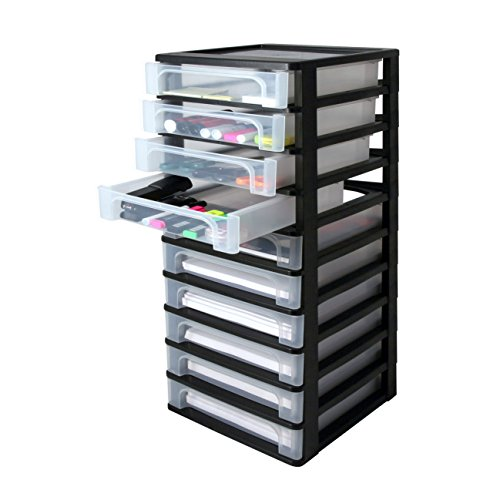 Iris Ohyama, Schubladenschrank / Schubladencontainer - Organizer Chest OCH-2100 - plastik, schwarz, 10 x 4 L, L35,5 x B26 x H81,5 cm
