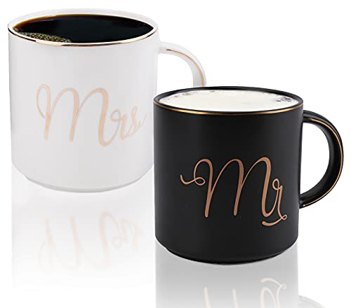 Yesland 12 oz Mr and Mrs Mug, Ceramic Coffee Mug for the Couple, Ideal Gift for Engagement, Anniversary, His and Hers, Bride and Groom, Valentines and Christmas Gifts - Set of 2 (Black & White)