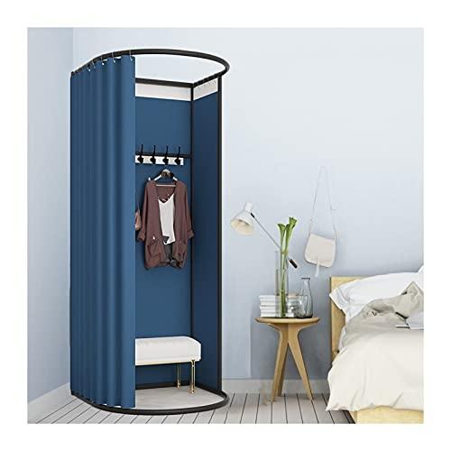 KKCF Vestuario Portátil Probador, Pantalla Partición Privacidad Pie con Ojal, Riel Deslizante Vestuario Simple For Dormitorio, Tienda De Oficina, 2 Tamaños (Color : Navy Blue, Size : 85x80x200cm)
