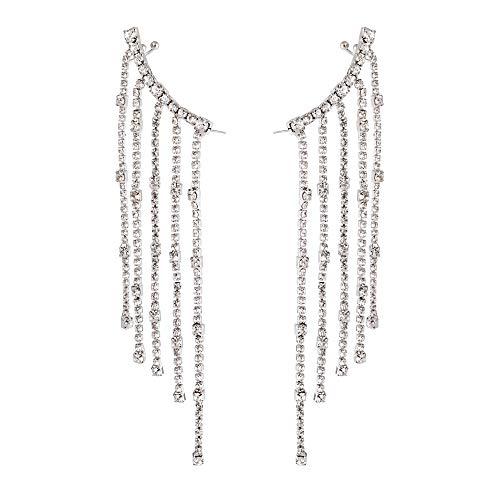 YUSHINY Long Tassel Crystal Cubic Zirconia Earlobe Cuff Clip with 925 Sterling Silver Needle Earring Stud