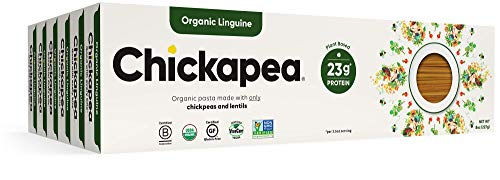 Chickapea Gluten Free Chickpea Pasta - Linguine - Certified Organic Healthy Vegan Pasta, High in Protein, GF, Lower Carb, Kosher and Non GMO - 8oz each (6 Pack)