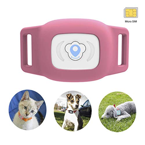 BARTUN Mini GPS Dog Cat Tracker Locator for 28lb Pets Waterproof IP67 Real Time Activity Monitor AGPS LBS SMS Positioning Tracking Device with Collar Included SIM Card
