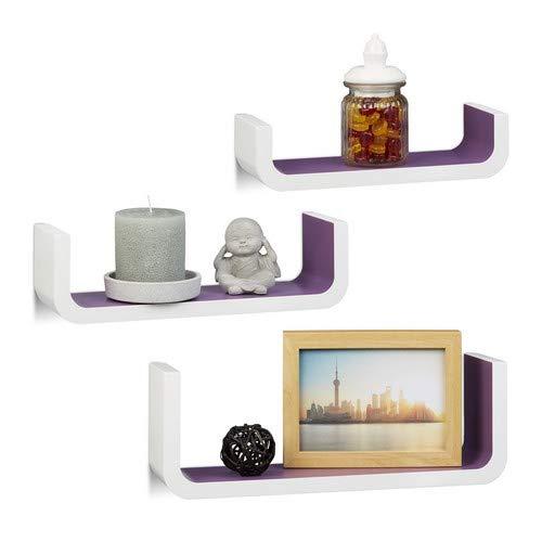 Relaxdays Wandrek 3-delige set, U-vormige wandplanken voor decoratie, kleine planken 10 cm diep, tot 40 cm breed, wit-violet