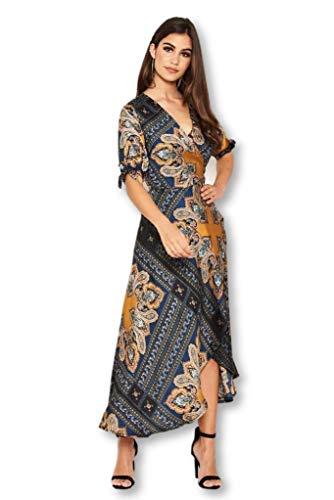 AX Paris Women's Paisley Tie Waist Wrap Maxi Dress(Multi, Size:6)