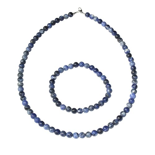 France Minéraux Sodalite Case in 6mm Round Beads - Bracelet 22cm Without Clasp and Necklace 39cm with Gold Clasp