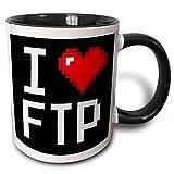3dRose Geeky Old School Pixels 8-Bit I Heart I Love FTP Two Tone Mug, 11 oz, Black/White
