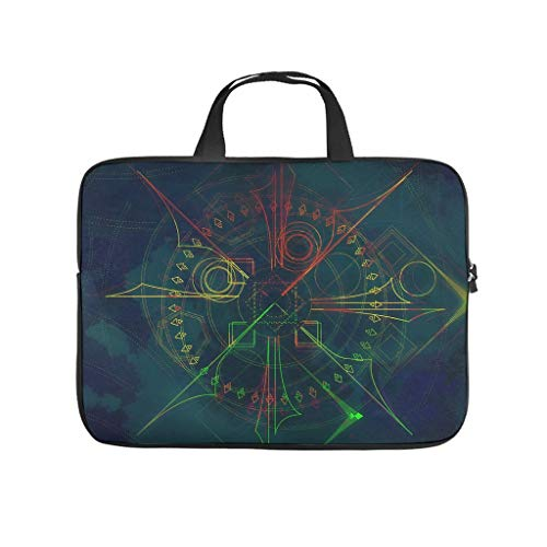 Abstract hologram Laptop bag Pattern Laptop Case Bag Colorful Scratch-Resistant Laptop Briefcase with Portable Handle for Women Men white 15 zoll