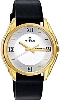 Titan Men's White Dial Leather Band Watch - 1578YL04