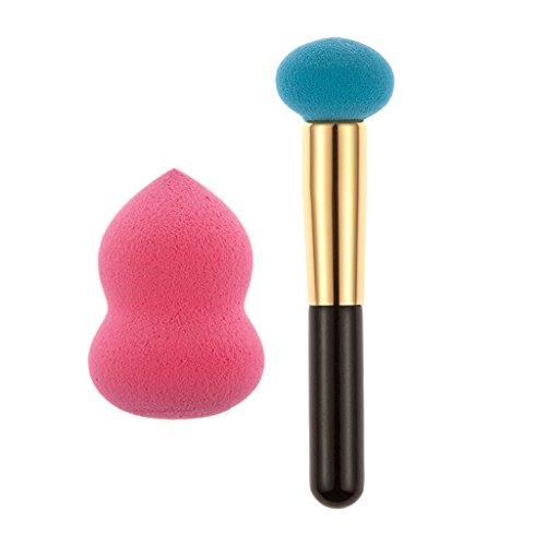 SM SunniMix 1pcs Peau Puissance Couleur Brosse + 1pcs Rose éponge Puff + 1pcs Sac En Toile De Maquillage Jeu - Bleu