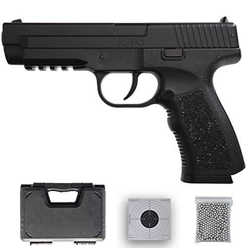 Crosman PSM 45 | Pistola de balines (Bolas BB's de Acero) de Aire comprimido por Muelle (no Necesita CO2) - Arma de perdigones Barata | 0.63 Julios