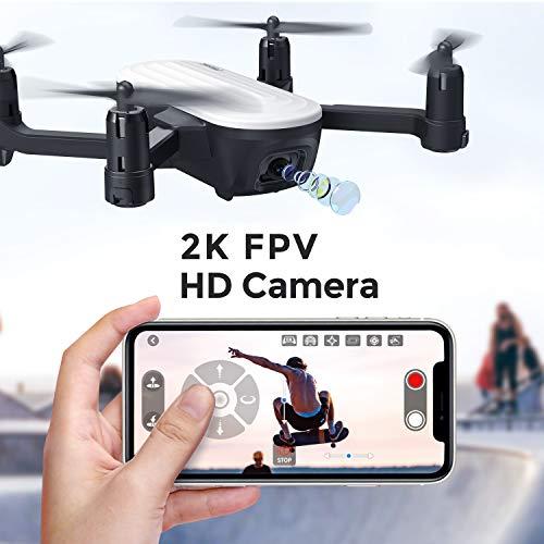 Potensic Drone Pieghevole con Fotocamera 2K Quadricottero FPV con Due Batterie da 20 Minuti Volo, Sensore di gravità, Controllo Gestuale, Flusso Ottico, modalità Senza Testa, Volo Traiettoria