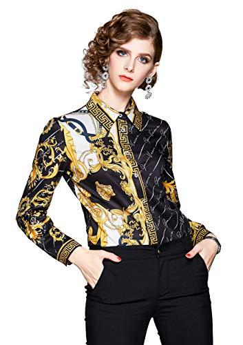 DOVWOER Damen Elegant Bluse mit Blumenmustern & Barock Print Langarm Button-Down Stehkragen Hemd Casual Tops, Schwarz-1, 38