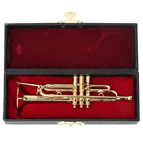 Hztyier muziekinstrument-model, koperminiatuur-trompet met standaard en koffer voor hoofddesktopdecoratie modelverzameling