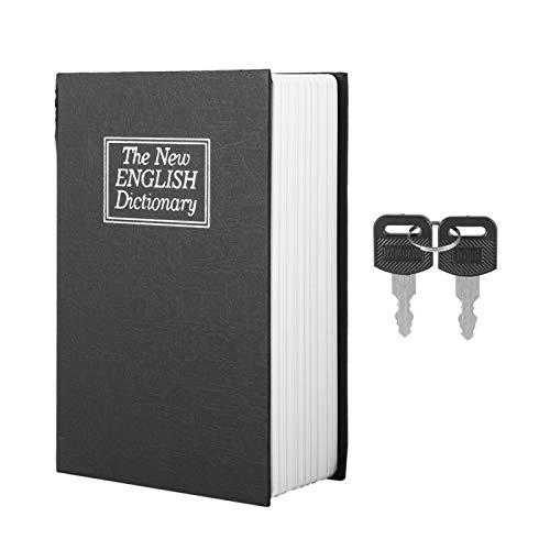 Cassaforte del libro di simulazione, cassetta di sicurezza del dizionario inglese nero Cassa di immagazzinaggio della raccolta dei gioielli dei soldi con 2 chiavi Cassetta di sicurezza