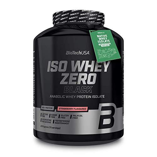 BioTechUSA Iso Whey Zero Black Proteinpulver, mit 90% Proteingehalt aus Molkenprotein-Isolat, mit extra Kreatin, Aminosäuren, Zink und Vitamin B3, 2.27 kg, Erdbeere