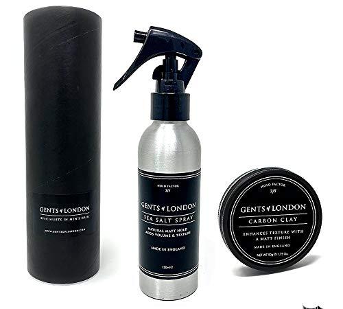 Gents of London Sea Salt Spray - Salzspray Haarstyling-Produkt - Matte Textur + Volumen (150ml + 50g Carbon Clay)