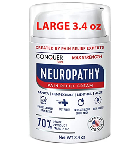Conquer Pain - Neuropathy Nerve Pain Relief Cream 3.4 oz - Max Strength Relief for Feet, Hands, Legs, Toes, Arthritis - Arnica, Aloe, Menthol - Scientifically Made for Fast-Acting Anti-Inflammatory