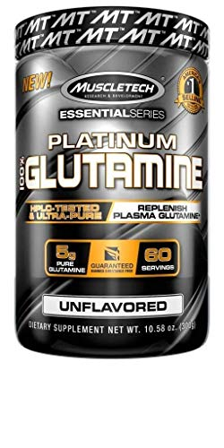 Glutamine Powder | MuscleTech 100% Pure L Glutamine Powder | Post Workout Recovery Drink | L-Glutamine Powder for Men & Women | Muscle Recovery | Unflavored (50 Servings)