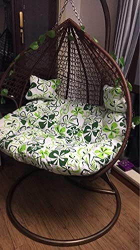 JRMU Egg Nest Seat Pad And Pillow, 55''x43'', Hanging Egg Hammock Chair Cushion Wicker Rattan Swing Pads 2 Persons Seater Zipper Washable Mat for Outdoor-c