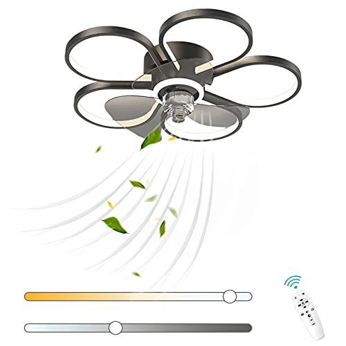 VOMI Moderno Ventilador de Techo con Luz Regulable Silencioso Lámpara de Ventilador 70W LED con Mando a Distancia Aluminio Forma de Flor Ventilador Reversible Motor 6 Velocidades de Viento Ajustables