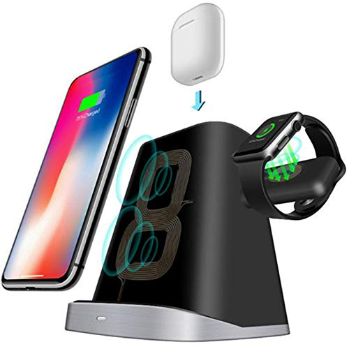 Bias&Belief Cargador Inalámbrico 3 En 1, Base de Carga Inalámbrica de 10W, Cargadores de Inducción QI para iPhone 8/X/XS/11 Series/Airpods/Apple Watch