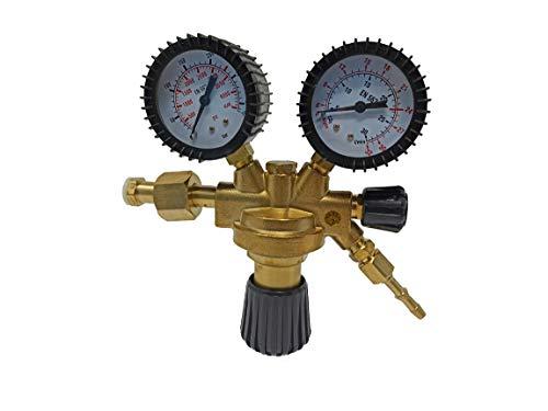 ELCAN Regulador de presión para botellas Argon CO2 para equipos de soldadura TIG y MIG/MAG Manómetro o Manorreductor con regulación de presión 0-315 bar y caudal 0-32l/min