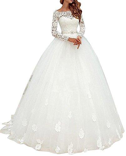 Cloverbridal Elegant Brautkleider Spitze Hochzeitskleider für Damen Prinzessin Lange Ärmel (46, Weiß)