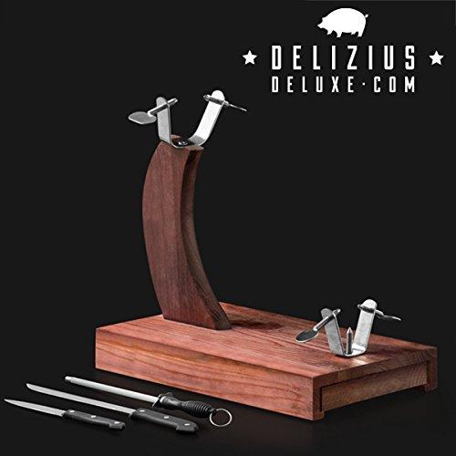 qtimber Soporte Jamonero Senior Delizius Deluxe 24 x 8 x 41 cm set di prosciutto, portaprosciutti