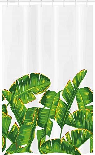 ABAKUHAUS Natur Schmaler Duschvorhang, Vibrierendes tropisches Laub, Badezimmer Deko Set aus Stoff mit Haken, 120 x 180 cm, Jägergrün Gelb