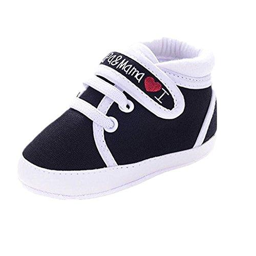 Calzado Auxma Infantil del bebé del niño de la Muchacha del Muchacho Sole Suave Zapatilla de Deporte para niños pequeños (0-6 Meses, Negro)